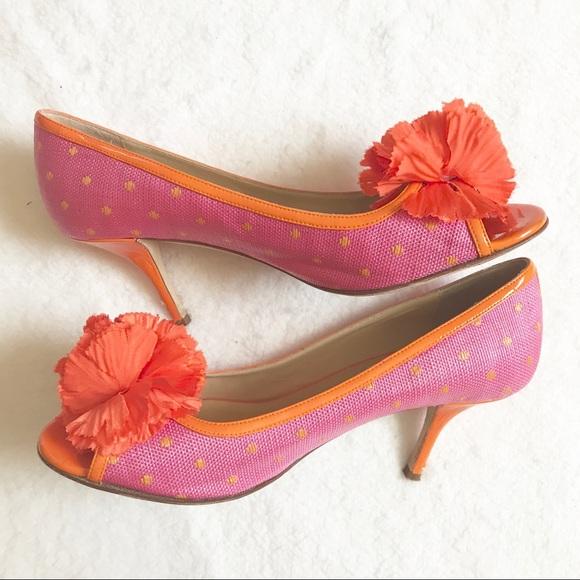 kate spade Shoes - Kate Spade Pink & Orange Peeptoe Heels